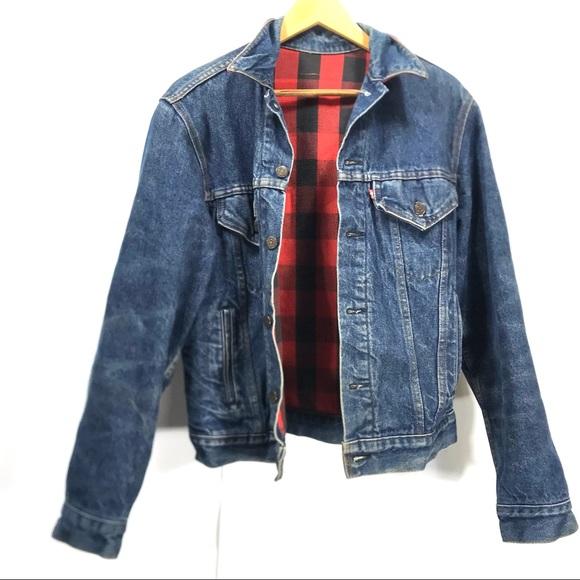 VTG Levi's Buffalo check flannel lined jacket M